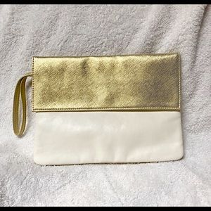 Clarins Gold & White Bag
